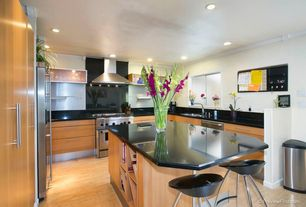 Contemporary Kitchen with U-shaped, Standard height, full backsplash, Paint, Stained glass window, Wall Hood, dishwasher