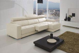 Modern Living Room with Bleeker Powered Reclining Sectional, Safavieh handmade posh light brown shag rug (5' x 8')