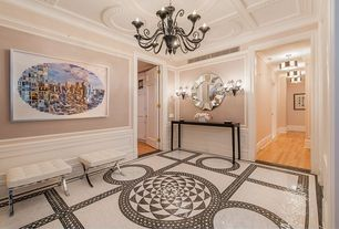 Traditional Entryway with Chandelier, specialty door, Crown molding, Carpet, Plaster ceiling, Tile medallion, Standard height