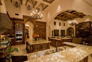 Traditional Kitchen with Santa cecilia, Custom hood, Vaulted ceiling, Kitchen island, Exposed beam, Glass panel, L-shaped