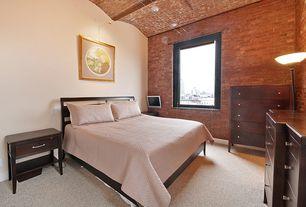 Craftsman Master Bedroom with interior brick, Carpet, Exposed beam
