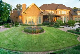 Traditional Landscape/Yard with Fence, exterior brick floors, Bird bath, Outdoor kitchen, Pathway