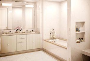 Contemporary Master Bathroom with Undermount sink, Master bathroom, European Cabinets, Limestone counters, specialty door
