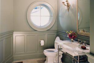 Traditional Powder Room with Console sink, Paint 2, Simple marble counters, Portal window, specialty window, Chair rail