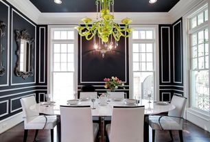 Contemporary Dining Room with Wainscotting, Crown molding, Horchow - filigree black mirror, Barovier & Toso Erfud Chandelier