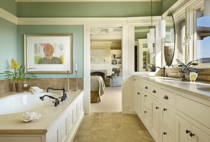 Traditional Master Bathroom with Crown molding, Chair rail, Inset cabinets, Flat panel cabinets, Undermount sink, Double sink