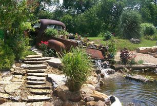"Rustic Landscape/Yard with Old chevy yard art, Stepstone, Fieldstone - Steps and Ledgers, Clear Rock 1/2 "" Landscape Gravel"