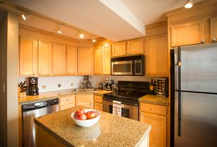 Contemporary Kitchen with Flat panel cabinets, Wac white track light bullet for juno track systems, dishwasher, drop-in sink