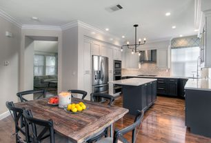 Contemporary Great Room with Crown molding, Electric works tubular chandelier, Hardwood floors, Metal madeleine side chair