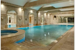 Mediterranean Swimming Pool with Indoor pool, exterior concrete tile floors, French doors, exterior tile floors