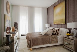 Contemporary Master Bedroom with picture window, Standard height, interior wallpaper, Concrete floors