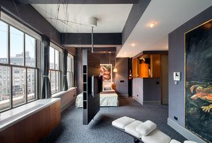 Contemporary Master Bedroom with Exposed beam, Built-in bookshelf, Pendant light, Carpet, specialty door