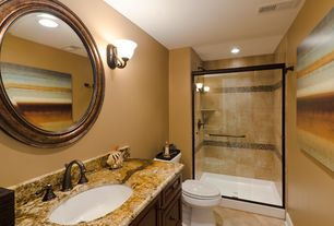 Modern 3/4 Bathroom with three quarter bath, Complex granite counters, Complex Granite, stone tile floors, framed showerdoor