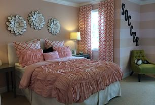 Traditional Kids Bedroom with interior wallpaper, Carpet, Standard height, Crown molding, Paint 2, Paint, picture window
