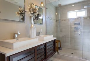 Contemporary Master Bathroom with Travertine counters, Pendant light, Shower, can lights, Vessel sink, Rain shower, Casement