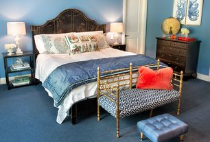 Traditional Master Bedroom with Asian-inspired dresser, Japonism headboard, specialty door, Carpet, Geometric bed bench