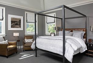 Traditional Guest Bedroom with bedroom reading light, Crown molding, double-hung window, Standard height, Carpet