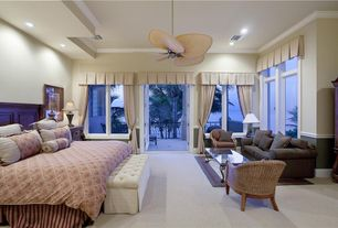 Master Bedroom With Chair Rail Crown Molding Carpet Ceiling Fan
