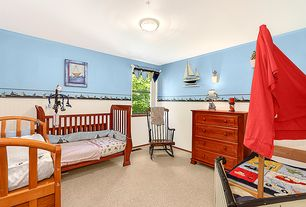 Cottage Kids Bedroom with flush light, Beadboard, Carpet, interior wallpaper, Nautical themed items