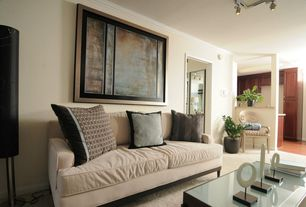Contemporary Living Room with Crown molding, Carpet, flush light