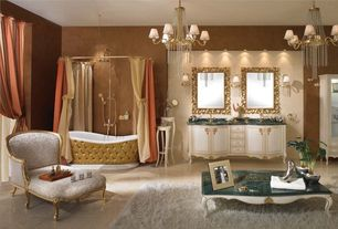 Traditional Master Bathroom with Flush, Wall sconce, Shower, Paint 1, shower bath combo, Chandelier, Undermount sink, Bathtub