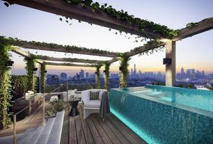 Contemporary Deck with Infinity pool, Daltile City Lights Glass, Metal & Decorative Accents, Exposed beam, Outdoor chair