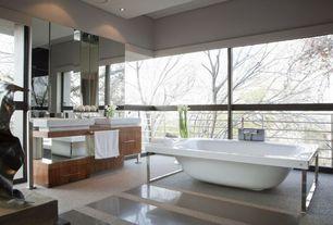 Modern Master Bathroom with picture window, Vessel sink, Flush, Freestanding, Master bathroom, Bathtub, European Cabinets
