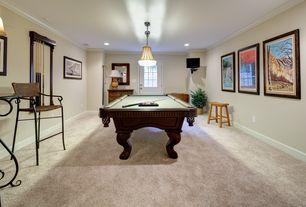 Traditional Game Room with Crown molding, Standard height, flush light, can lights, Glass panel door, Carpet