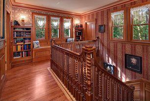 Craftsman Hallway with double-hung window, specialty door, interior wallpaper, Balcony, Window seat, Hardwood floors
