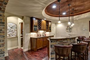 Traditional Basement with Vaxcel Vine Mini Pendant with Amber Flake Glass - 7.5W in. Oil Shale