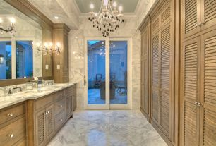 Traditional Master Bathroom with Crown molding, Calacatta classic, Flat panel cabinets, Complex Marble, Undermount sink