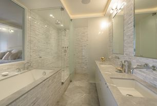 Contemporary Master Bathroom with stone tile floors, Rain shower, Undermount sink, Double sink, Shower, drop in bathtub