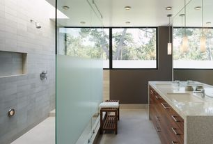 Contemporary Master Bathroom with Paint, Flush, Pendant light, Shower, Concrete tile , Standard height, European Cabinets