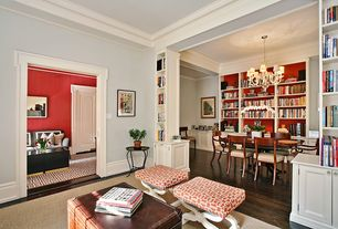 Traditional Living Room with six panel door, Laminate floors, High ceiling