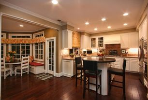 Traditional Kitchen with Built In Refrigerator, Simple granite counters, Multiple Refrigerators, can lights, Simple Granite