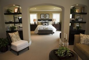 Traditional Master Bedroom with Skyline Furniture Tufted Linen Storage Bench, Open archway, Louvered shutters, Reading nook