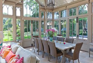 Dining Room with Transom window, Arcadian Home Large Libra Vase XNC-95340, French doors, High ceiling, Exposed beam