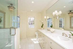Traditional Master Bathroom with Standard height, Shower, Flat panel cabinets, Chandelier, Double sink, Inset cabinets