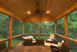 Rustic Porch with Knotty pine ceiling, Screened porch