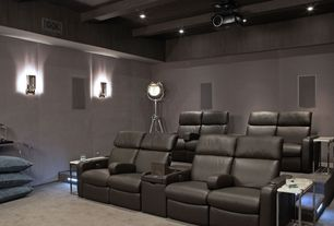 Contemporary Home Theater with interior wallpaper, Acoustic wall paneling, Wall sconce, Standard height, can lights, Carpet
