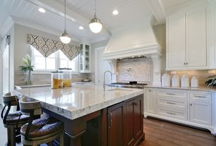 Traditional Kitchen with electric cooktop, Wood plank ceiling (tongue & groove board), Casement, full backsplash, Custom hood