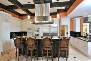 Traditional Kitchen with Soapstone counters, Soapstone, Flat panel cabinets, U-shaped, Simple granite counters, Flush