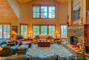 Rustic Living Room with Bay window, Carpet, stone fireplace, High ceiling