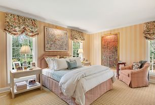 Traditional Guest Bedroom with Crown molding, picture window, interior wallpaper, Carpet, Standard height