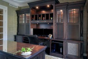 Traditional Home Office with Crown molding, Concrete floors, flush light, Standard height, can lights, Built-in bookshelf