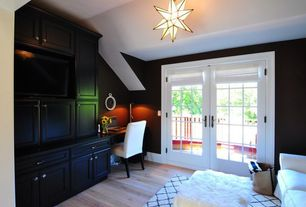 Traditional Home Office with Paint, Hardwood floors, Standard height, French doors, Pendant light, Built-in bookshelf