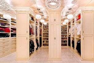 Traditional Closet with stone tile floors, Custom ceiling, Crystal lighting, Pendant light, Crown molding, Built-in bookshelf