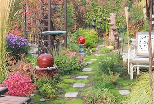 Cottage Landscape/Yard with Bird bath, Fountain, Pathway, Arbor