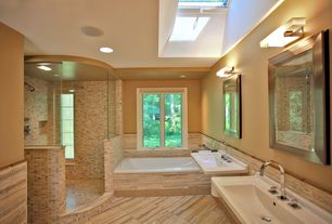 Traditional Master Bathroom with Ally stone chinese marble wooden grey material tile, Skylight, flush light, Double sink