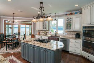 Craftsman Kitchen with Balcony, Pendant light, Maxim 2653MRKB Pacific 3 Light Island Pendant, Hardwood floors, Farmhouse sink